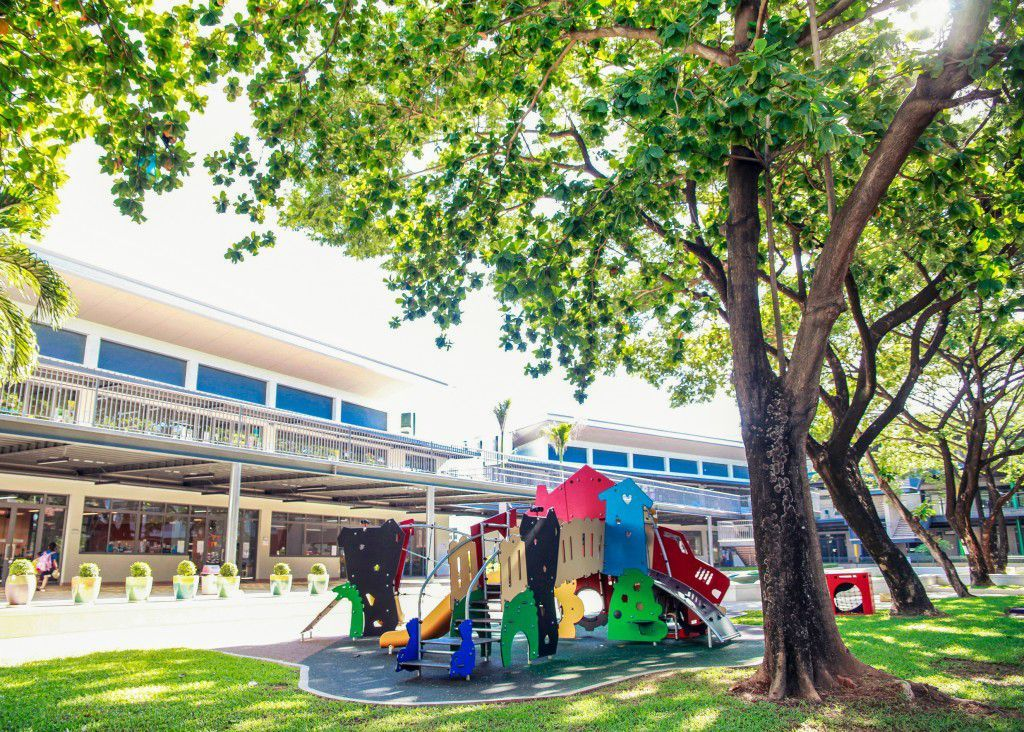 plenty of green, outdoor spaces surrounding the school